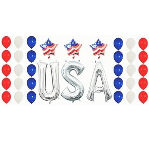 Other - U.S.A Red, White, & Blue Foil and Latex Balloons